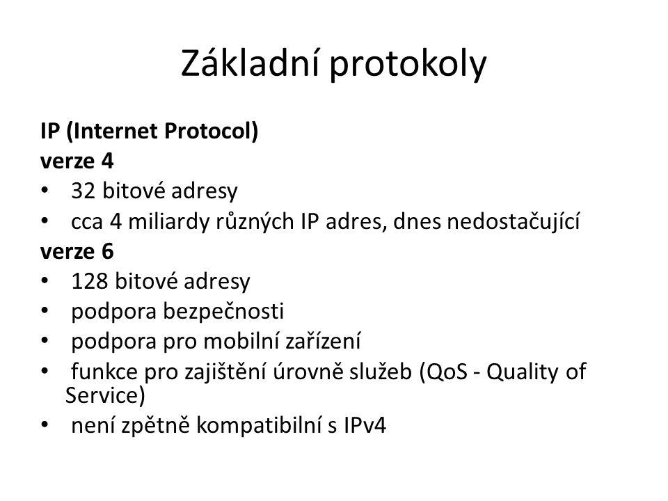 Základní protokoly IP (Internet Protocol) verze 4 32 bitové adresy