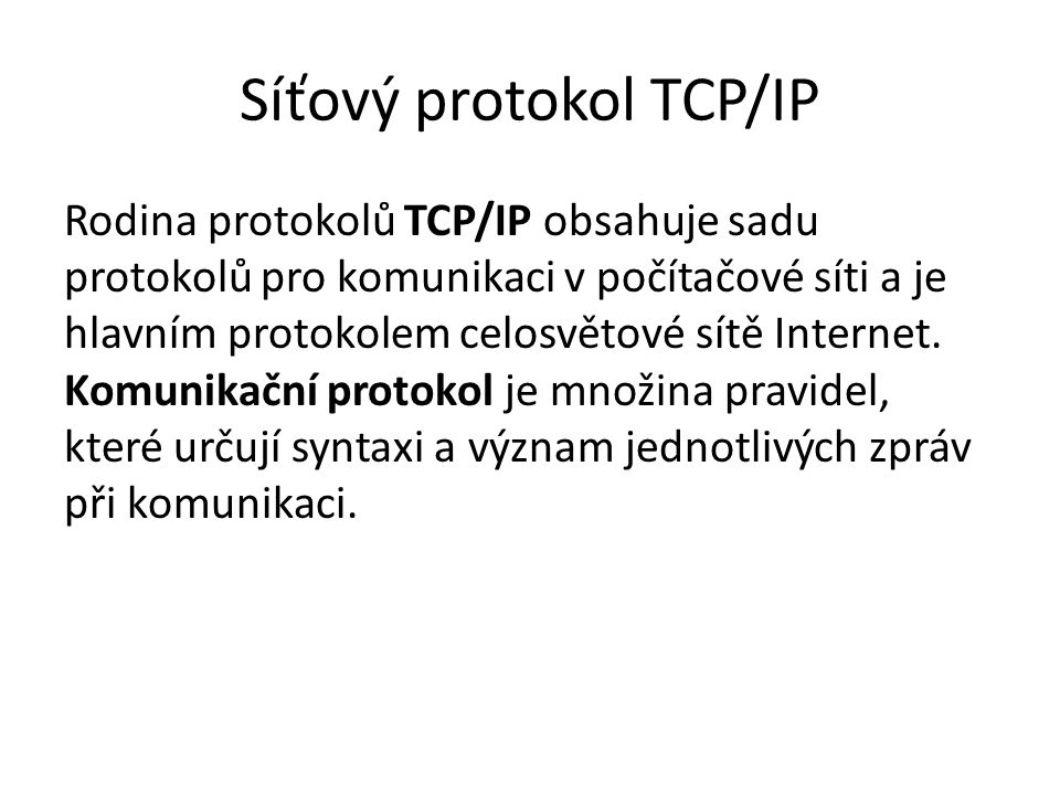 Síťový protokol TCP/IP