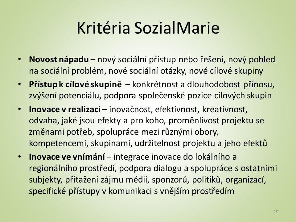 Kritéria SozialMarie Novost nápadu – nový sociální přístup nebo řešení, nový pohled na sociální problém, nové sociální otázky, nové cílové skupiny.