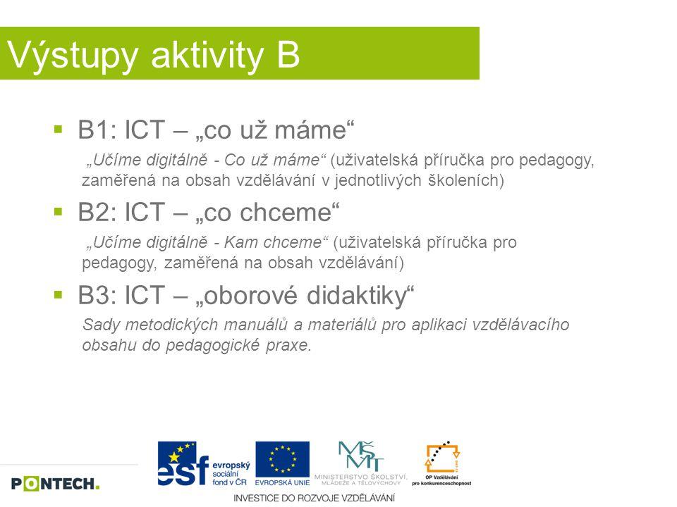 "Výstupy aktivity B B1: ICT – ""co už máme B2: ICT – ""co chceme"
