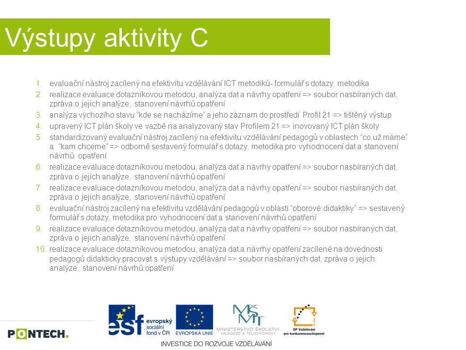 Výstupy aktivity C evaluační nástroj zacílený na efektivitu vzdělávání ICT metodiků- formulář s dotazy, metodika.