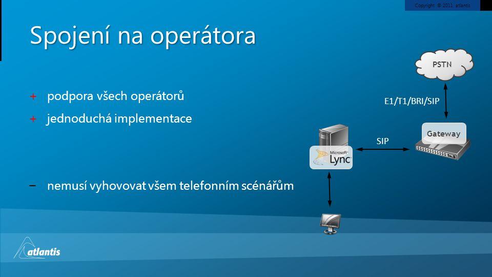 Spojení na operátora podpora všech operátorů jednoduchá implementace