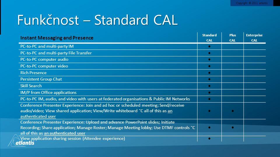 Funkčnost – Standard CAL