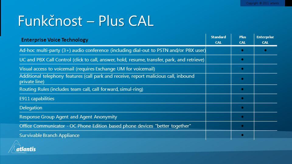 Funkčnost – Plus CAL Enterprise Voice Technology