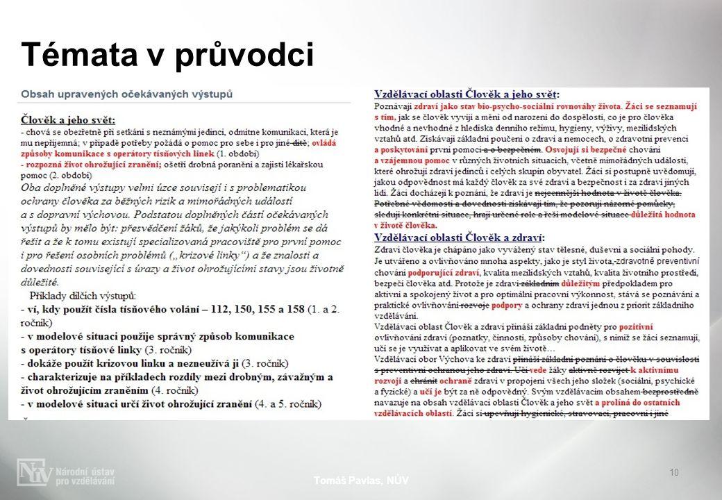 Témata v průvodci Tomáš Pavlas, NÚV