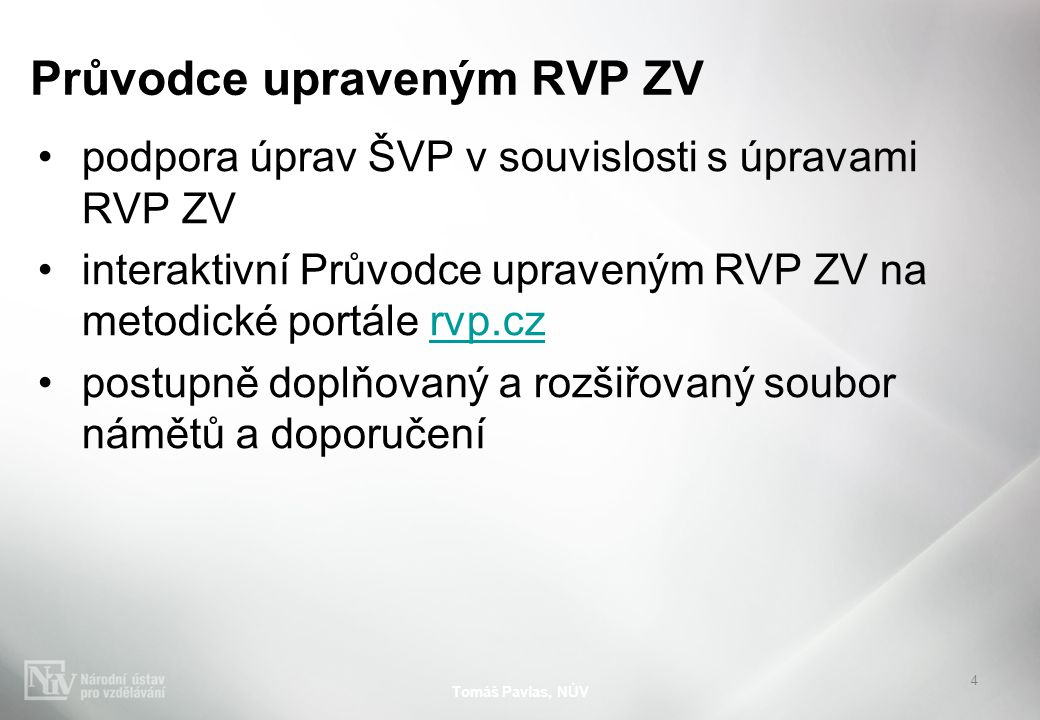 Průvodce upraveným RVP ZV