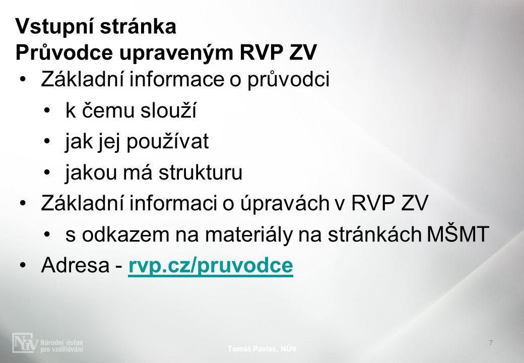 Vstupní stránka Průvodce upraveným RVP ZV