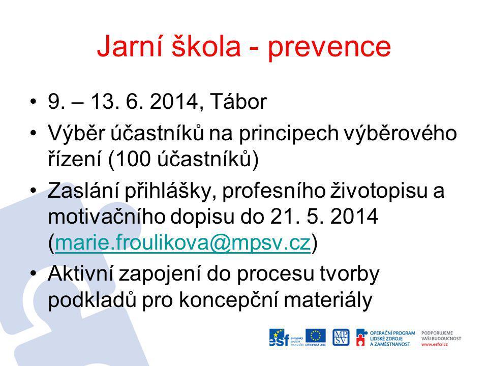 Jarní škola - prevence 9. – 13. 6. 2014, Tábor