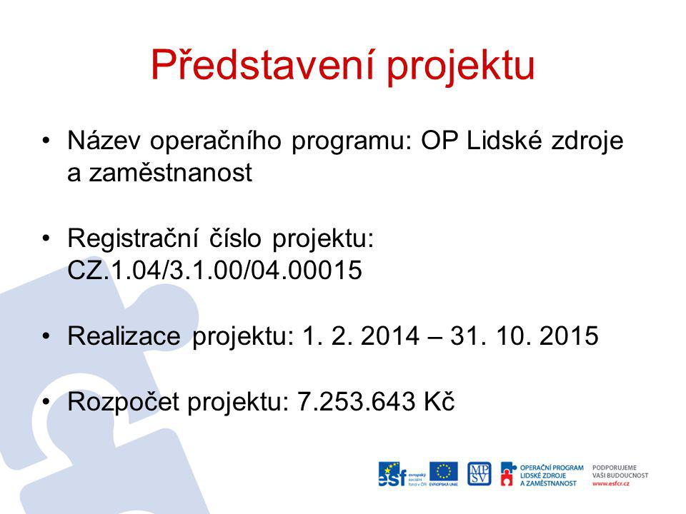 Představení projektu Název operačního programu: OP Lidské zdroje a zaměstnanost. Registrační číslo projektu: CZ.1.04/3.1.00/04.00015.