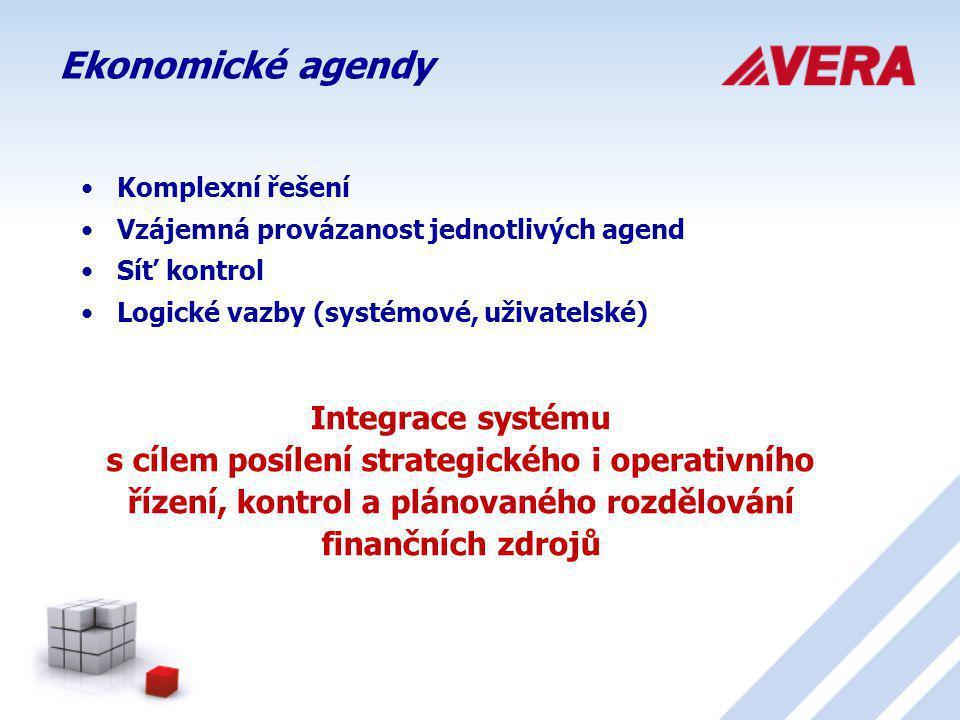 Ekonomické agendy Komplexní řešení. Vzájemná provázanost jednotlivých agend. Síť kontrol. Logické vazby (systémové, uživatelské)