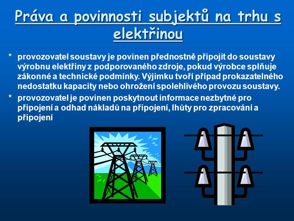 Práva a povinnosti subjektů na trhu s elektřinou
