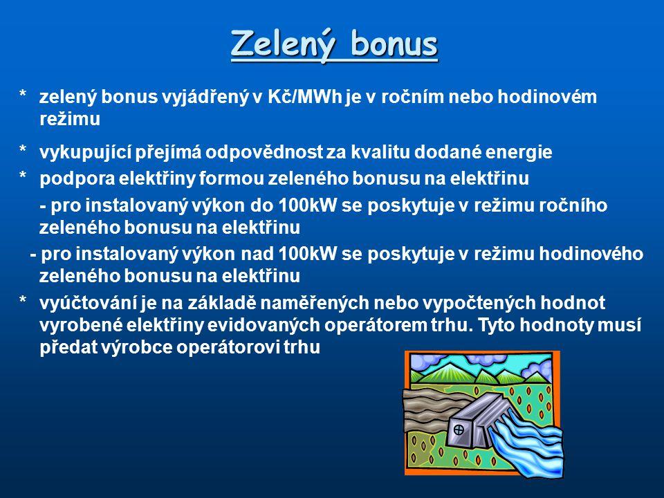 Zelený bonus * zelený bonus vyjádřený v Kč/MWh je v ročním nebo hodinovém režimu. * vykupující přejímá odpovědnost za kvalitu dodané energie.