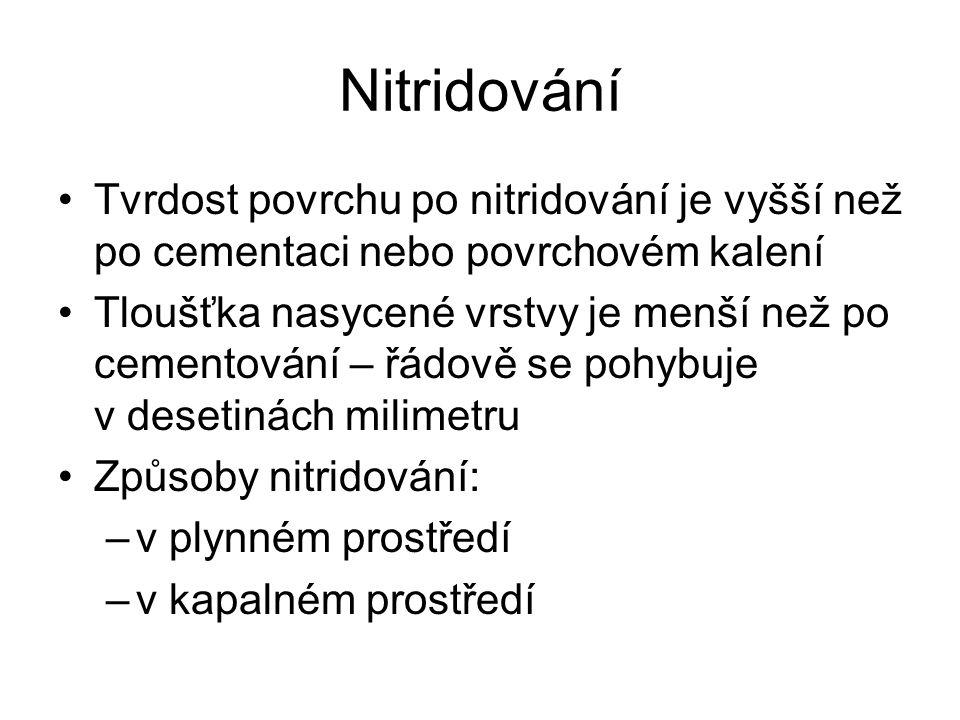 Nitridování Tvrdost povrchu po nitridování je vyšší než po cementaci nebo povrchovém kalení.