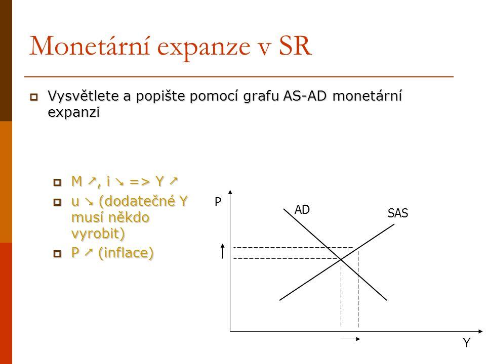 Monetární expanze v SR Vysvětlete a popište pomocí grafu AS-AD monetární expanzi. M , i  => Y  u  (dodatečné Y musí někdo vyrobit)