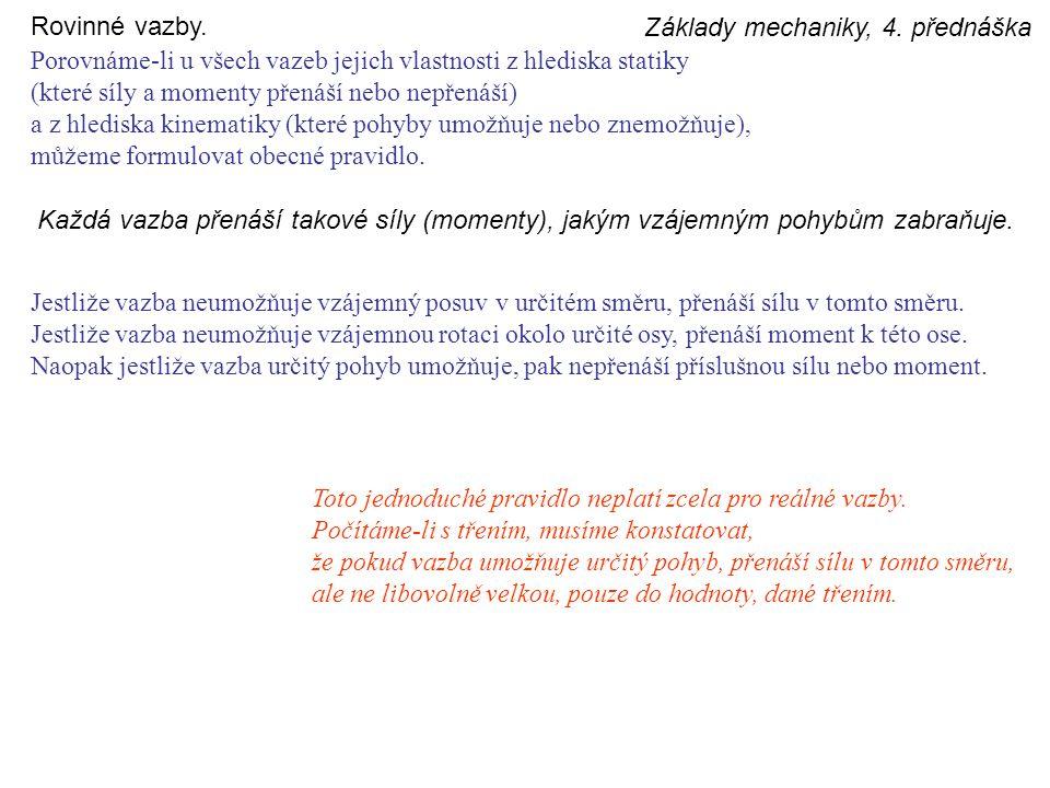 Rovinné vazby. Základy mechaniky, 4. přednáška. Porovnáme-li u všech vazeb jejich vlastnosti z hlediska statiky.