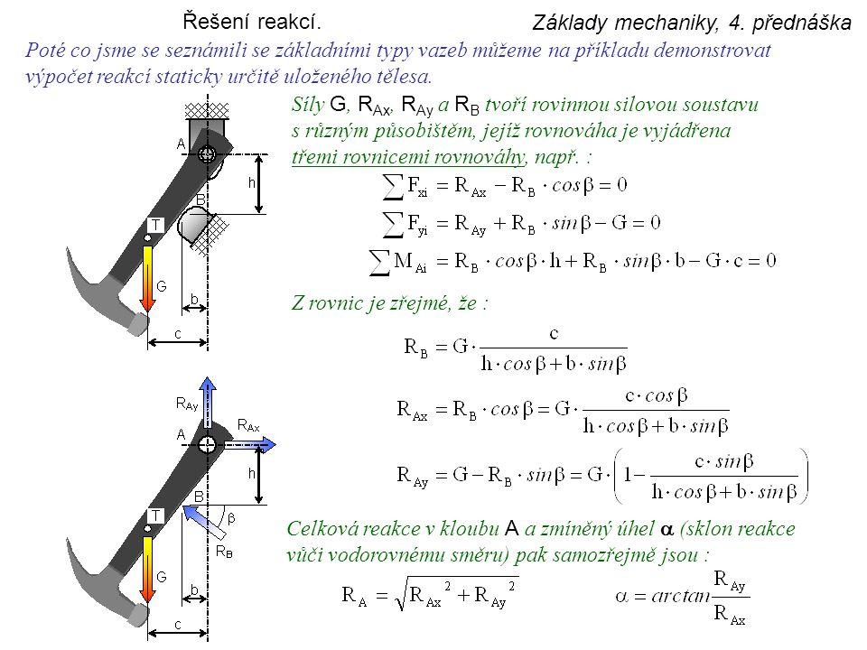 Řešení reakcí. Základy mechaniky, 4. přednáška. Poté co jsme se seznámili se základními typy vazeb můžeme na příkladu demonstrovat.