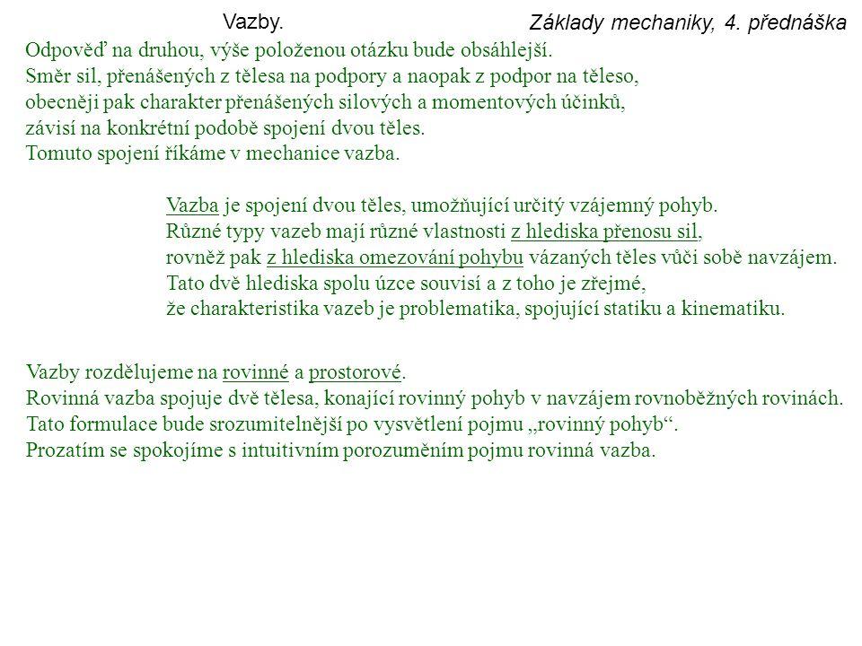 Vazby. Základy mechaniky, 4. přednáška. Odpověď na druhou, výše položenou otázku bude obsáhlejší.