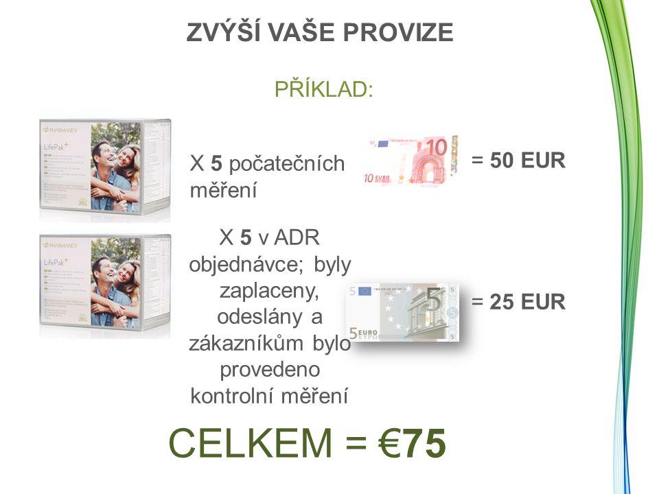 CELKEM = €75 ZVÝŠÍ VAŠE PROVIZE PŘÍKLAD: = 50 EUR