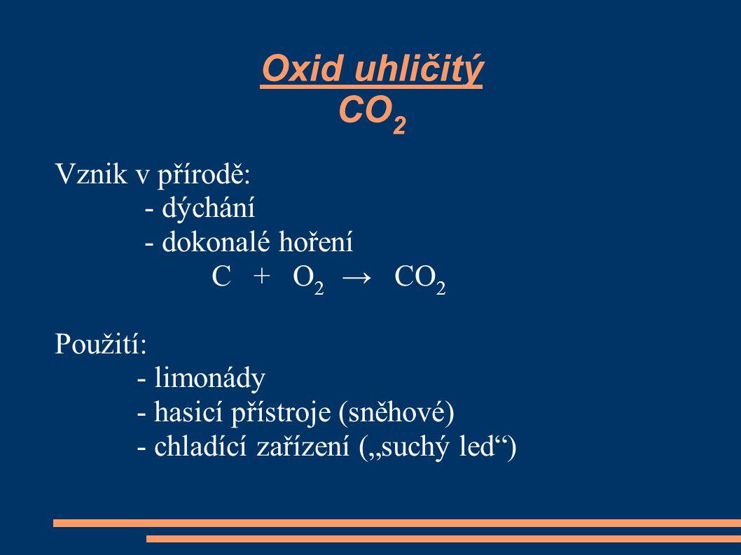 Oxid uhličitý CO2 Vznik v přírodě: - dýchání - dokonalé hoření