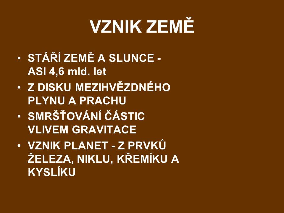 VZNIK ZEMĚ STÁŘÍ ZEMĚ A SLUNCE - ASI 4,6 mld. let