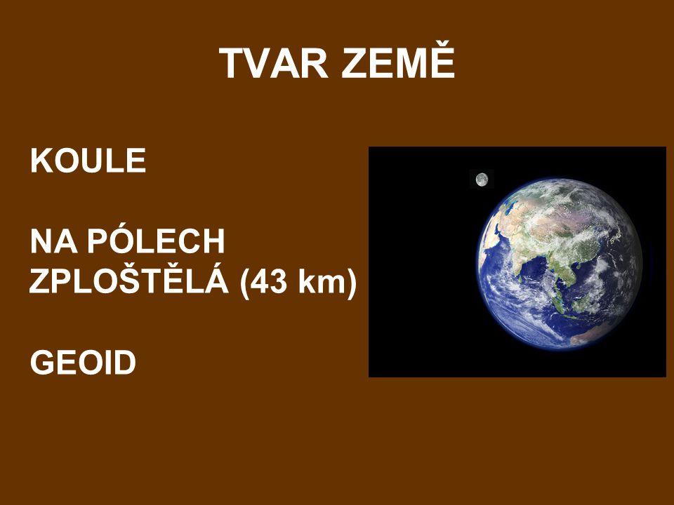 TVAR ZEMĚ KOULE NA PÓLECH ZPLOŠTĚLÁ (43 km) GEOID