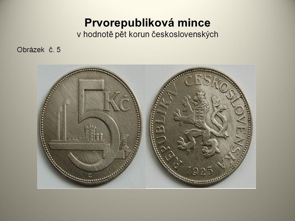 Prvorepubliková mince v hodnotě pět korun československých