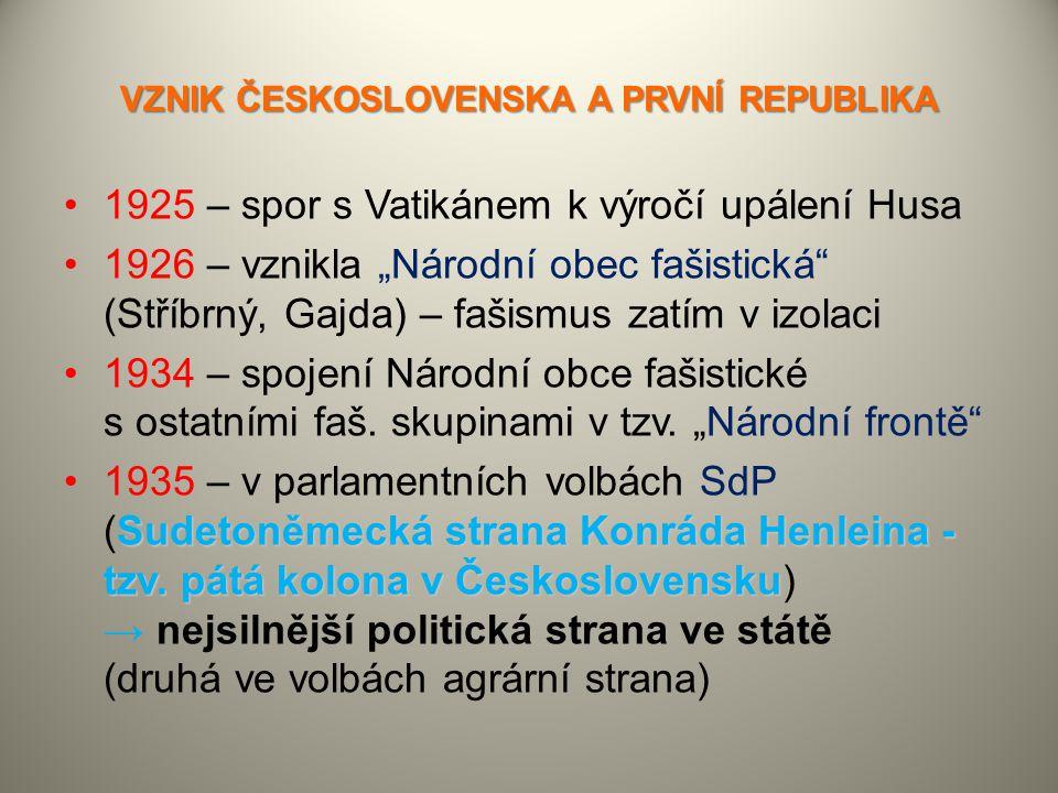 VZNIK ČESKOSLOVENSKA A PRVNÍ REPUBLIKA