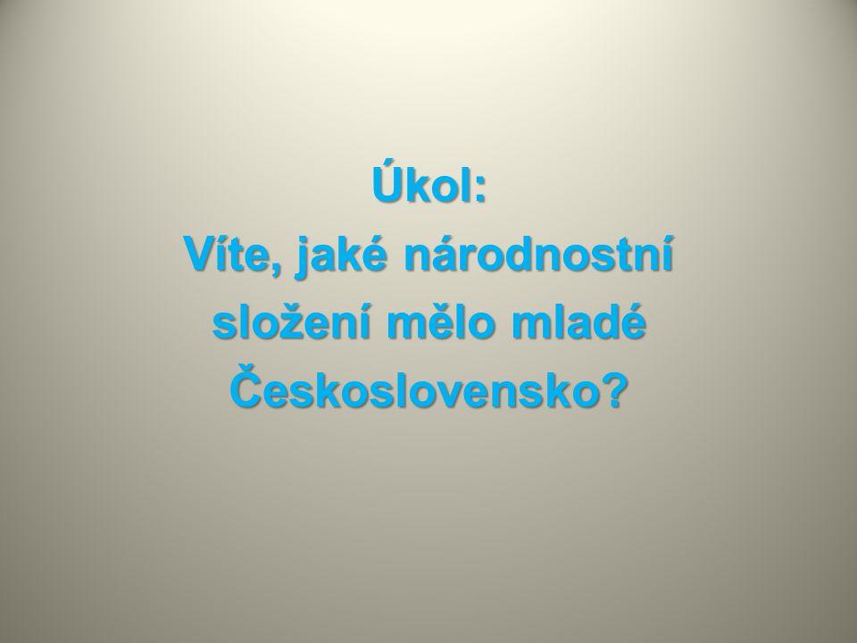 Úkol: Víte, jaké národnostní složení mělo mladé Československo