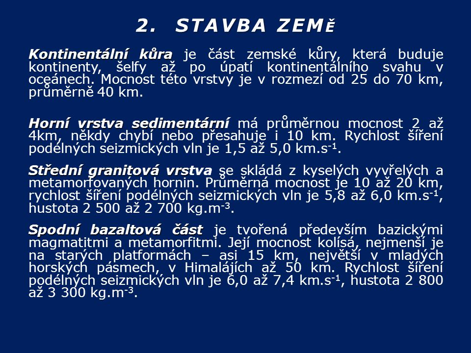 2. STAVBA ZEMĚ
