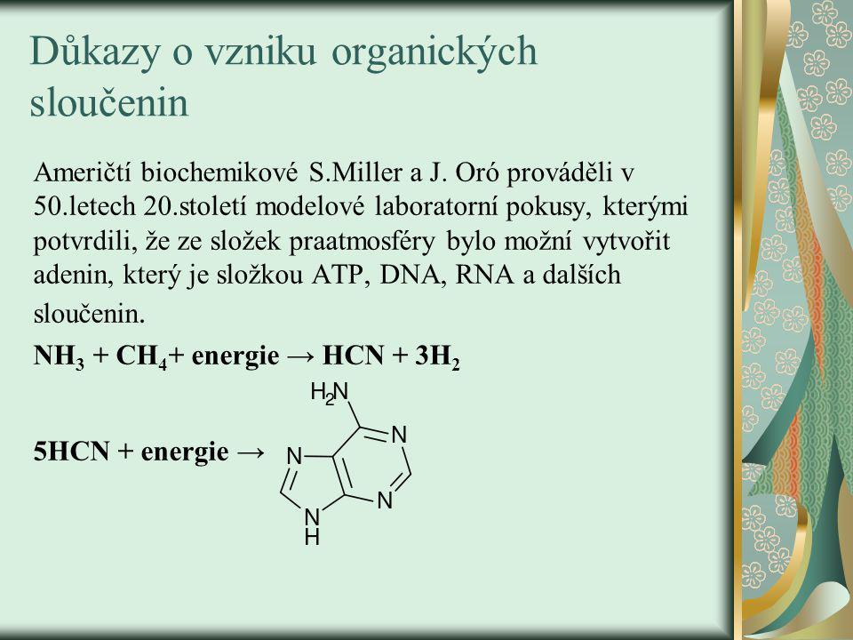 Důkazy o vzniku organických sloučenin