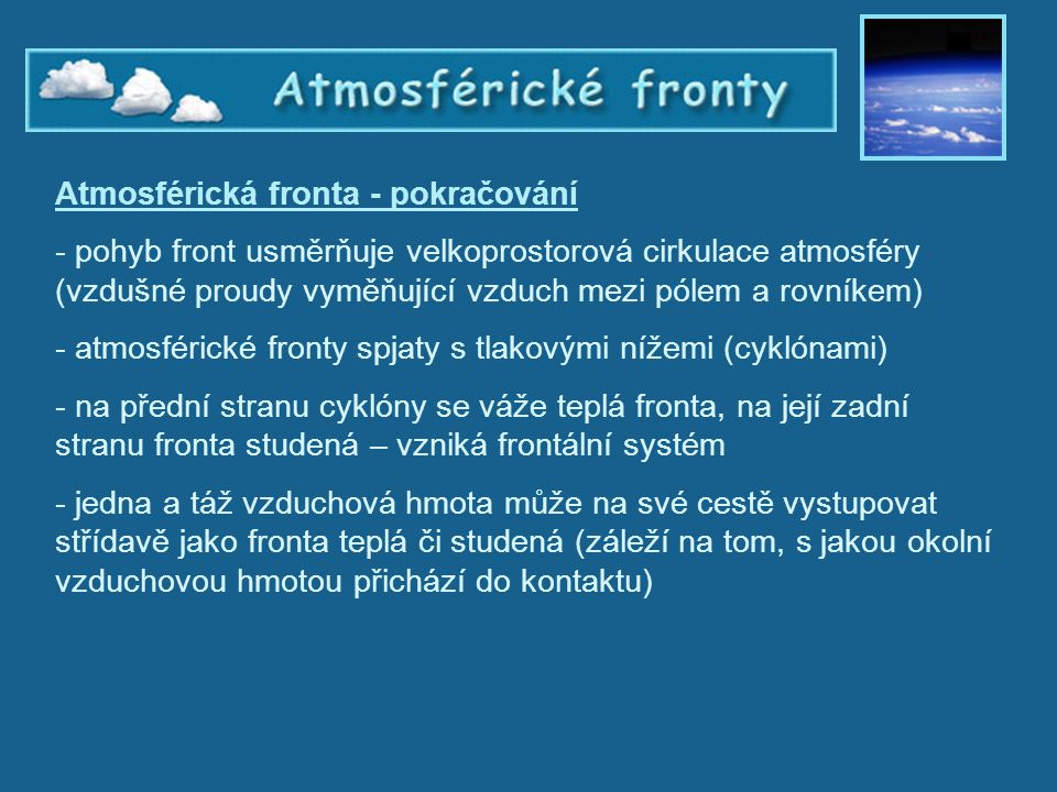 Atmosférická fronta - pokračování