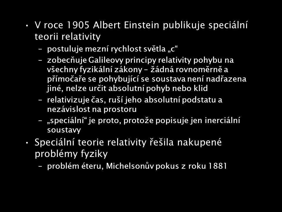 V roce 1905 Albert Einstein publikuje speciální teorii relativity
