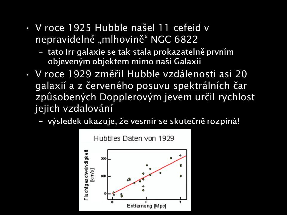 """V roce 1925 Hubble našel 11 cefeid v nepravidelné """"mlhovině NGC 6822"""
