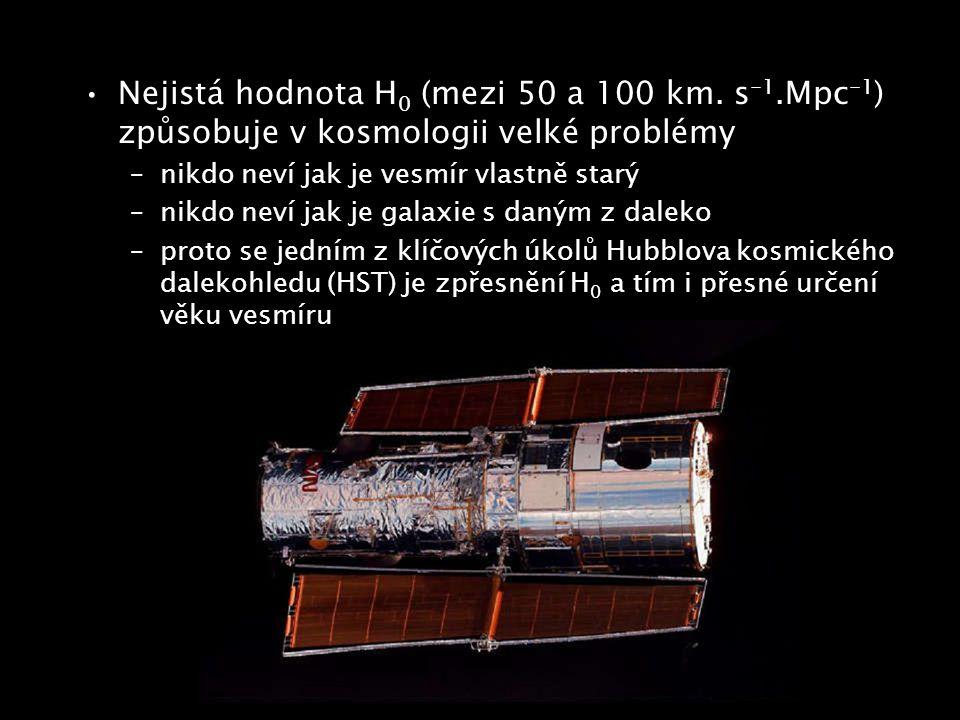 Nejistá hodnota H0 (mezi 50 a 100 km. s-1