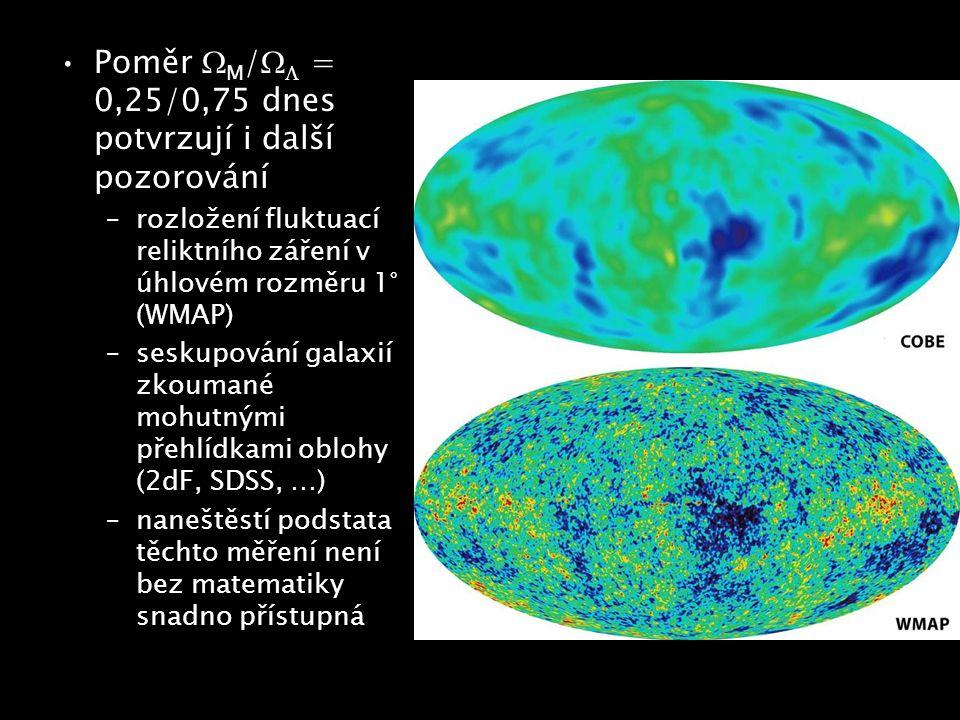 Poměr M/ = 0,25/0,75 dnes potvrzují i další pozorování
