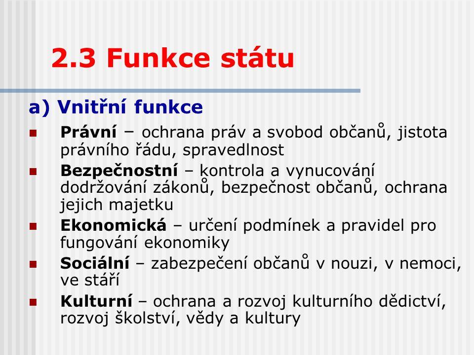 2.3 Funkce státu a) Vnitřní funkce