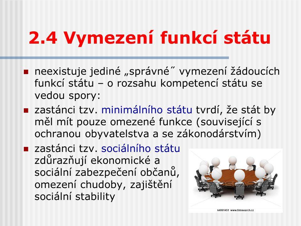 """2.4 Vymezení funkcí státu neexistuje jediné """"správné˝ vymezení žádoucích funkcí státu – o rozsahu kompetencí státu se vedou spory:"""