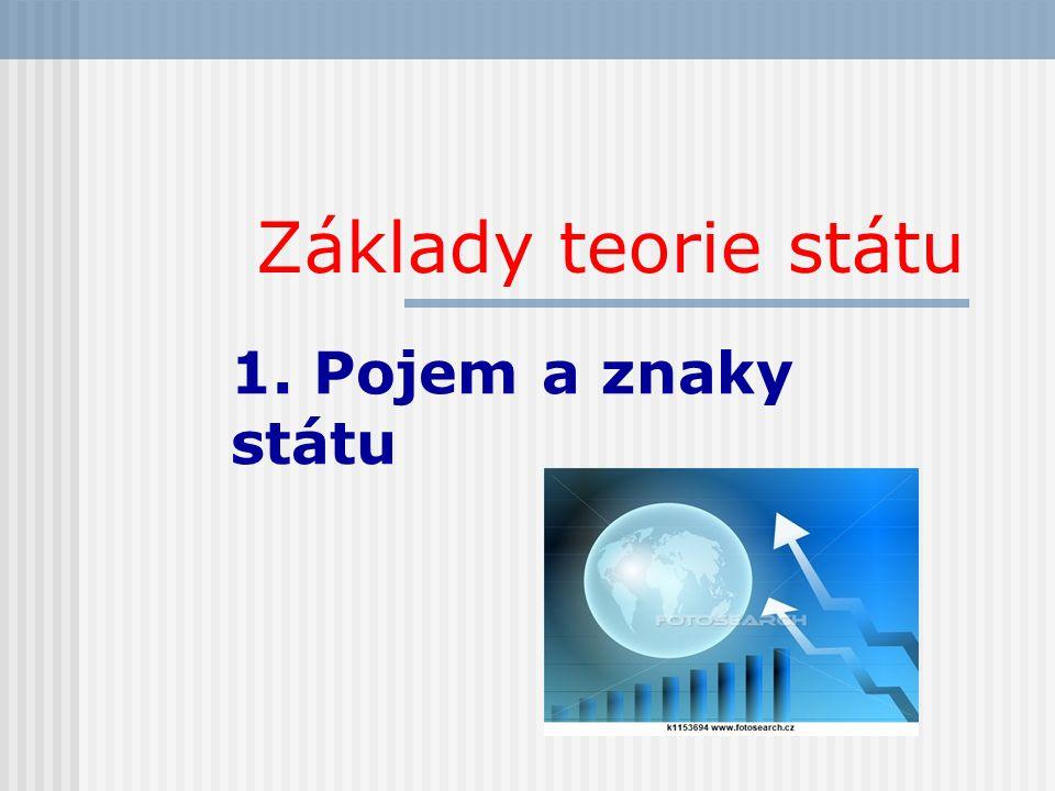 Základy teorie státu 1. Pojem a znaky státu
