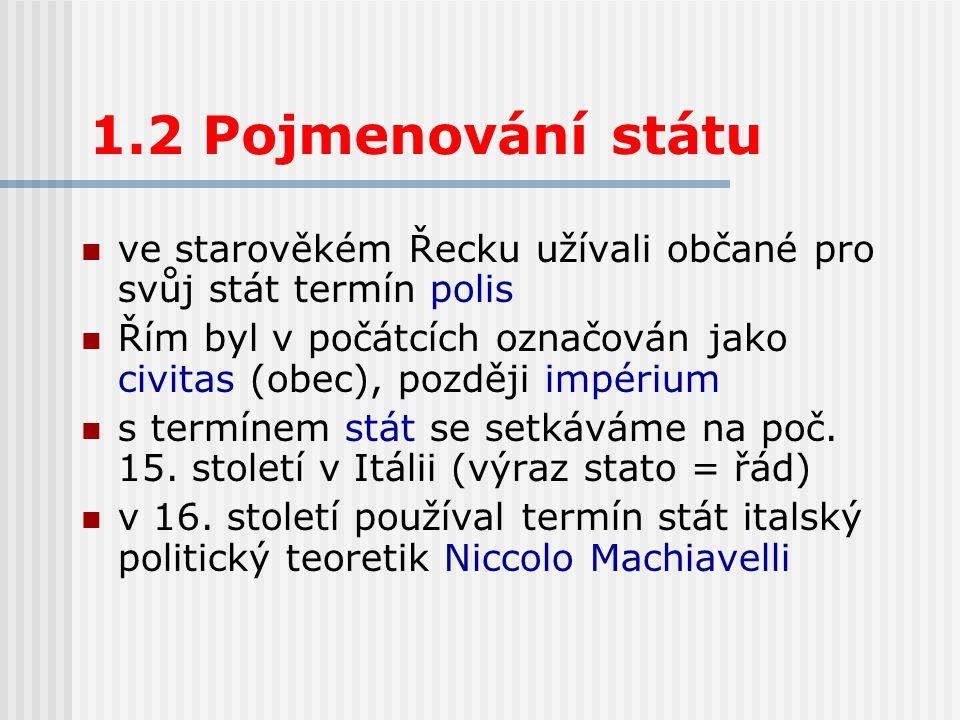 1.2 Pojmenování státu ve starověkém Řecku užívali občané pro svůj stát termín polis.