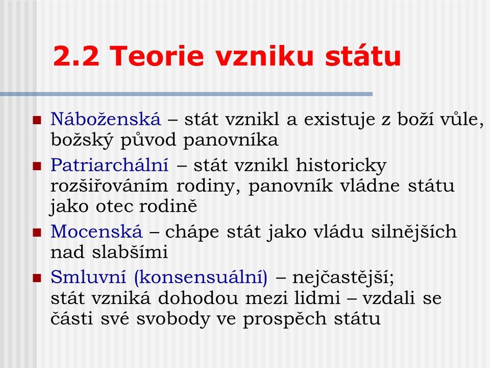 2.2 Teorie vzniku státu Náboženská – stát vznikl a existuje z boží vůle, božský původ panovníka.