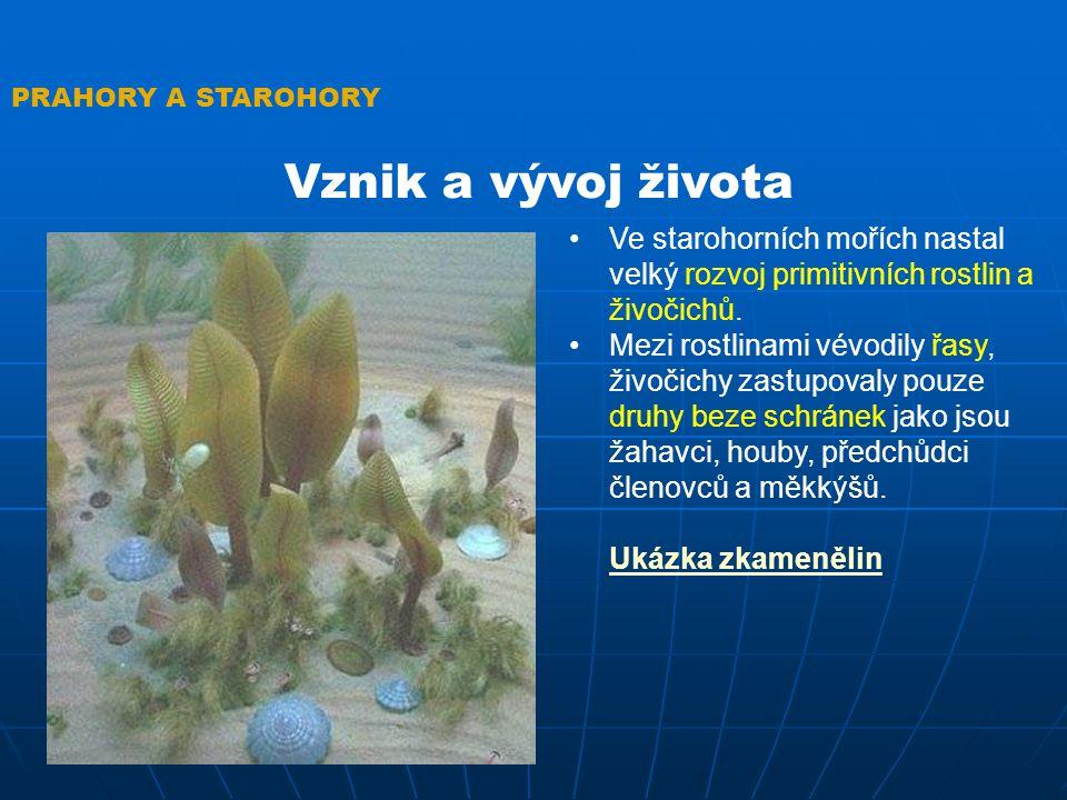 PRAHORY A STAROHORY Vznik a vývoj života. Ve starohorních mořích nastal velký rozvoj primitivních rostlin a živočichů.
