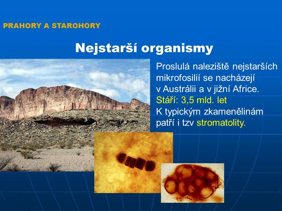 PRAHORY A STAROHORY Nejstarší organismy. Proslulá naleziště nejstarších mikrofosilií se nacházejí.