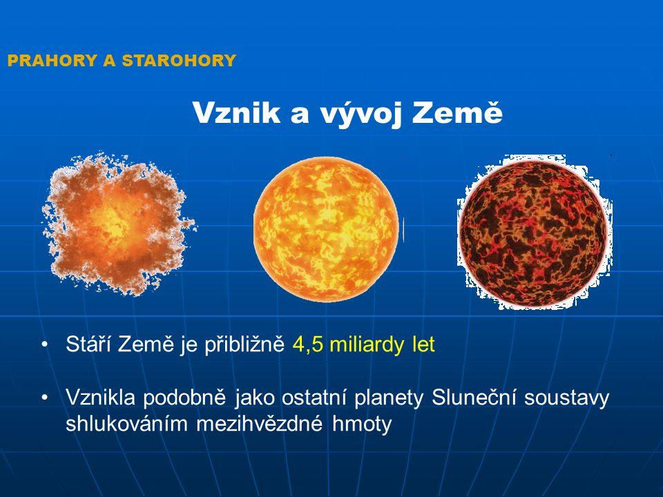 Vznik a vývoj Země Stáří Země je přibližně 4,5 miliardy let
