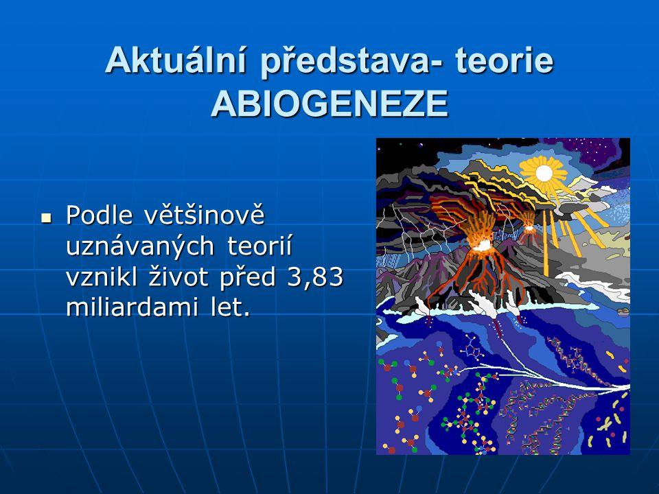 Aktuální představa- teorie ABIOGENEZE