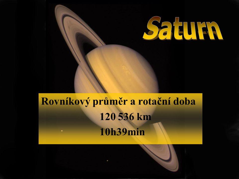 Saturn Rovníkový průměr a rotační doba 120 536 km 10h39min
