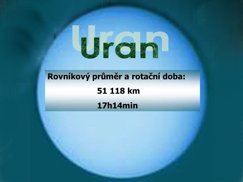 Uran Rovníkový průměr a rotační doba: 51 118 km 17h14min