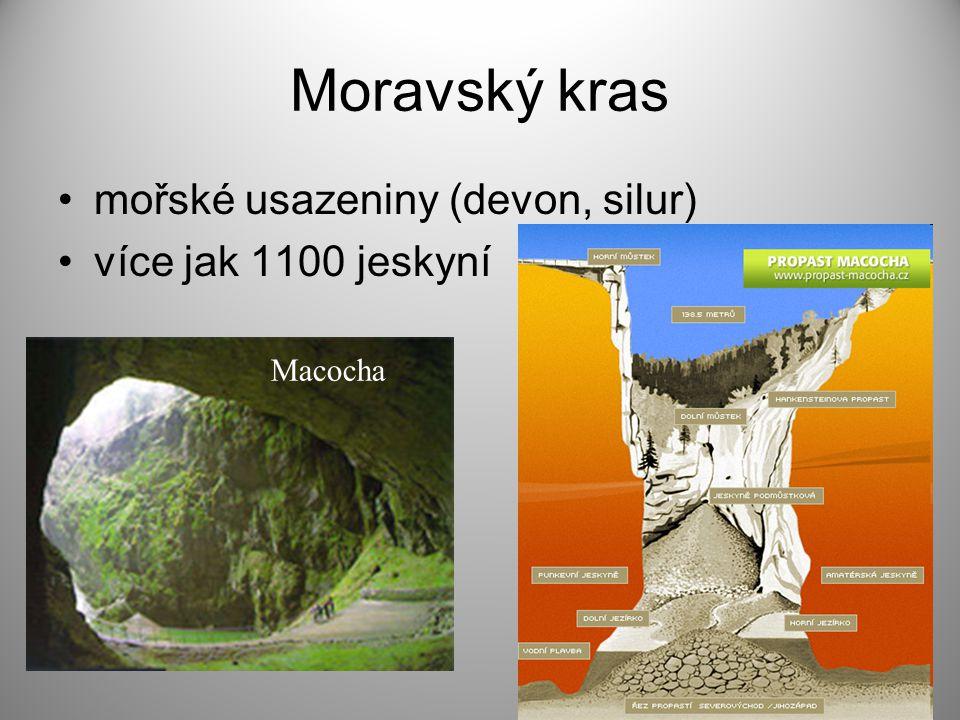 Moravský kras mořské usazeniny (devon, silur) více jak 1100 jeskyní
