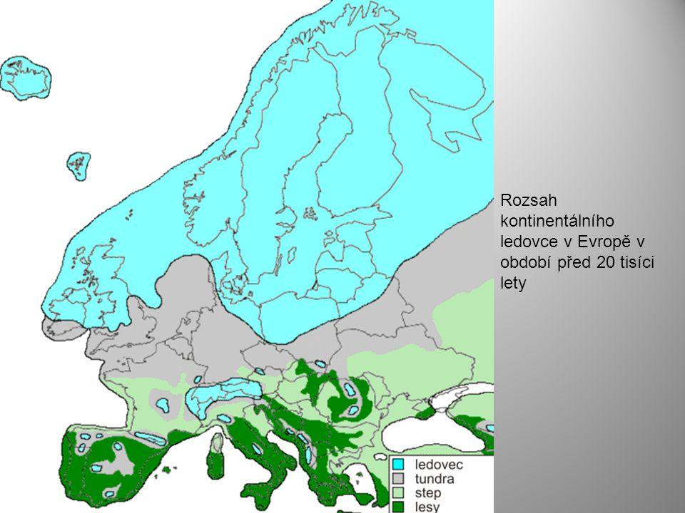 Rozsah kontinentálního ledovce v Evropě v období před 20 tisíci lety