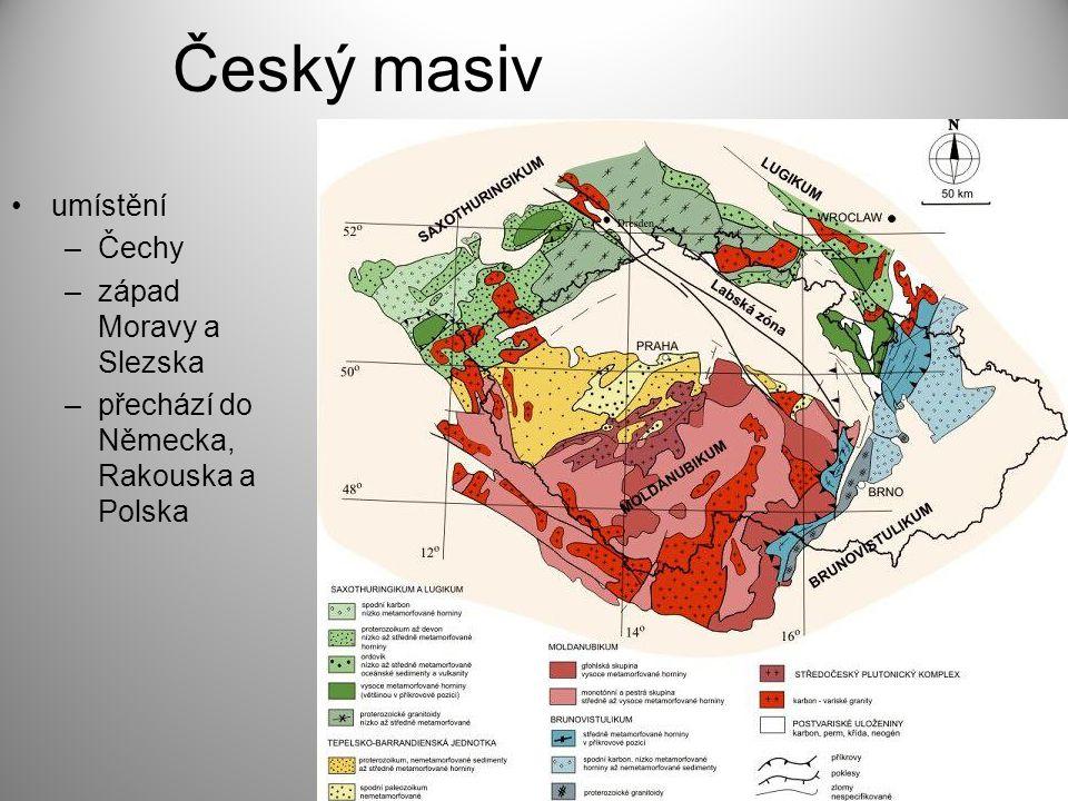 Český masiv umístění Čechy západ Moravy a Slezska