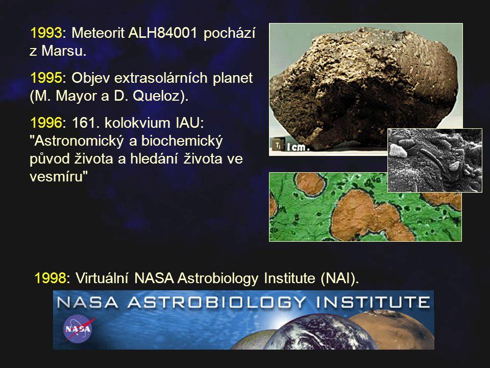 1993: Meteorit ALH84001 pochází z Marsu.